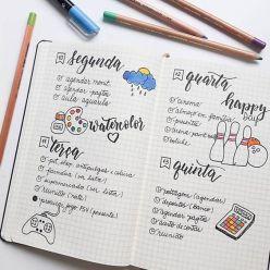 Desenhos simples e cores deixam o planejamento da semana mais leve